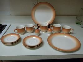 Mikasa Fashion Tones ~ Smoked Salmon ~ 15 Pcs ~ Plates Cups - $59.39