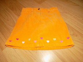 Girl's Size 5 Gymboree Orange Corduroy Mini Skirt Skort Hearts Heart Emb... - $14.00