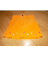 Girl's Size 5 Gymboree Orange Corduroy Mini Skirt Skort Hearts Heart Emb... - $14.00