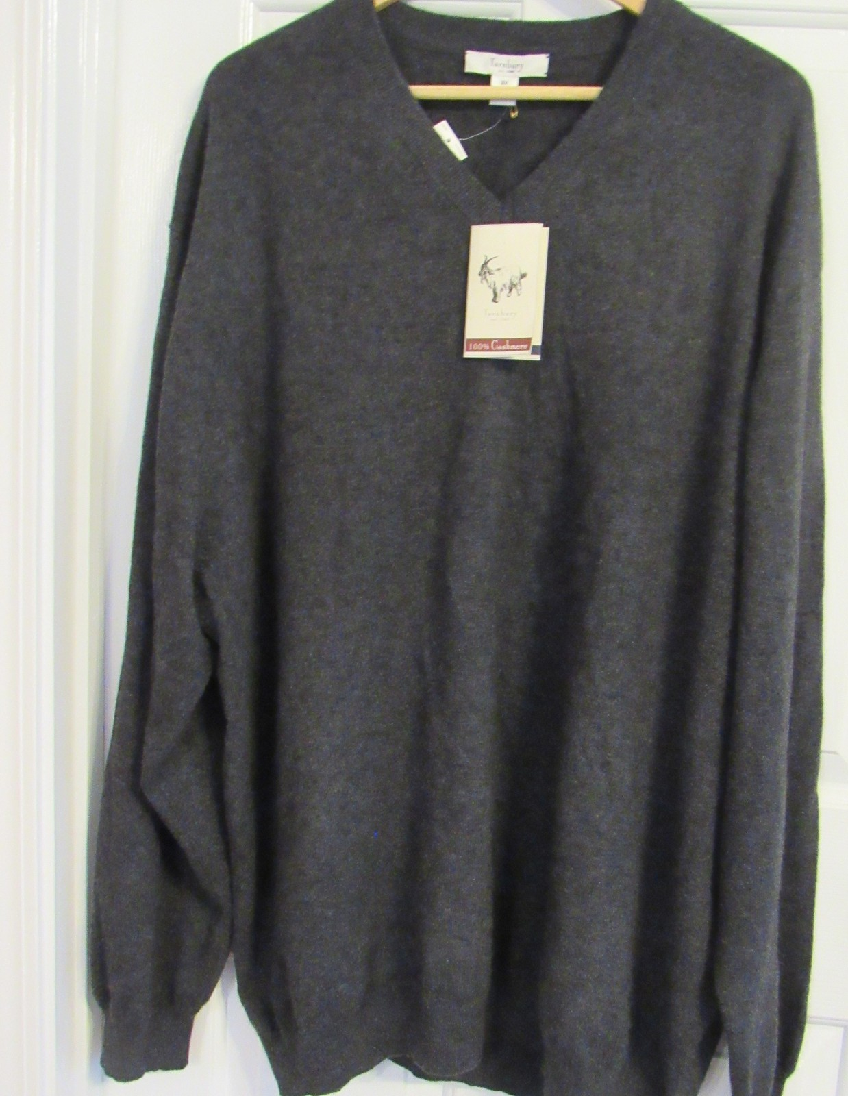 TURNBURY MEN'S SWEATER 100%CASHMERE X-LG MADE IN MADAGASCAR V-NECK CHARCOAL NEW