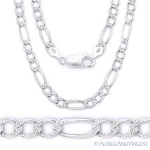3.7mm Figaro Link Chain Diamond-Cut Pave Necklace in .925 Italy Sterling... - $28.79+