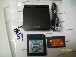 Game Boy Advance SP Onyx Black Handheld System - USB CHARGER  - BUNDLE ... - $62.99