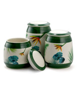 Elama 3 Piece Ceramic Kitchen Canister Collection in Green - $45.23
