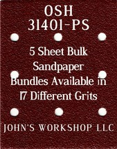 OSH 31401-PS - 1/4 Sheet - 17 Grits - No-Slip - 5 Sandpaper Bulk Bundles - $7.14