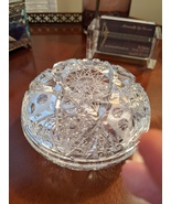 Cut and Etched Bohemian Crystal Covered Round Candy/Jewelry/Powder Dish,... - $27.00