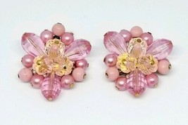 Western Germany Pink Flower Cluster Bead Beaded Gold Tone Earrings Vintage - $19.79