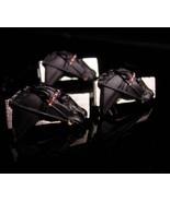 Vintage Horse racing Cufflinks -LARGE silver & black enamel - black hors... - $175.00