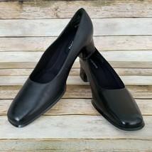Easy Spirit Womens Black Leather Pumps 7.5 B Locket Block Heel Made in Brazil - $28.70