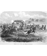 WELLS FARGO Co. Stagecoach Attacked by Indians - 1883 German Print - $21.60