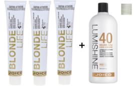 3 Joico Blonde Life Hyper High Lift Hair Color, Champagne  + LumiShine developer