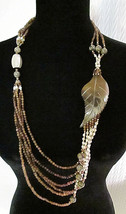 Brown & White Beaded Multi-Strand Necklace Focal Leaf Accent Nature Boho... - $10.50