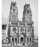 FRANCE Orleans Main Square & Cathedral - SUPERB 1843 Antique Print - $39.60