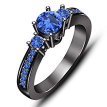 Three Stone Wedding Ring Round Cut Blue Sapphire Black Rhodium Finish 925 Silver - $78.99