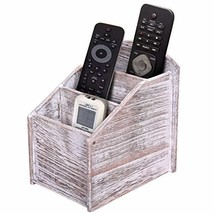 Rustic 3-Slot Wooden Remote Control Holder – Caddy Holder for Multimedia... - $24.65