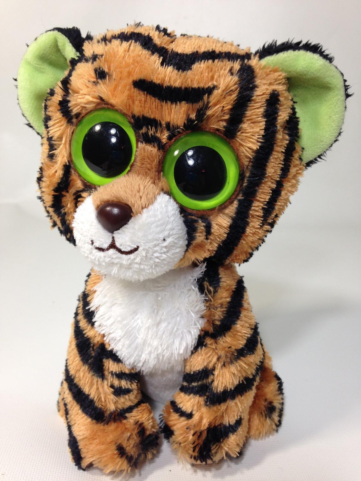 d7847c5fc4f Ty beanie boo stripes tiger cat 6 plush stuffed solid green eyes toy 1
