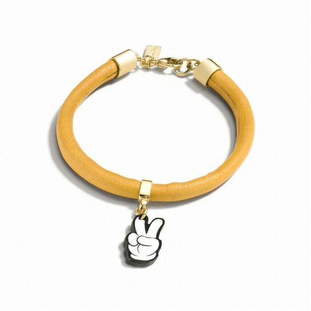 NWT COACH  MICKEY Mouse Disney Cute Peace Charm Bracelet Yellow Black F86790