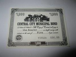 1964 Stocks & Bonds 3M Bookshelf Board Game Piece: Central City $1,000 Bond  - $1.00