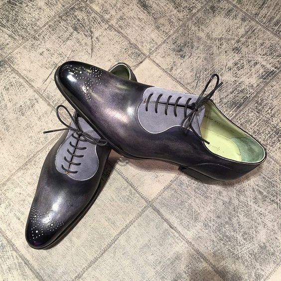 Handmade Men's Black Leather And Grey Suede Lace Up Brogue Style Shoes