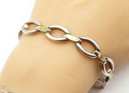 925 Sterling Silver - Vintage Two Tone Polished Oval Link Chain Bracelet... - $46.86
