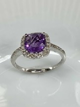 Ema Amethyst Ring mit Diamant in 14k Weiss Gold Größe 7 - $213.83