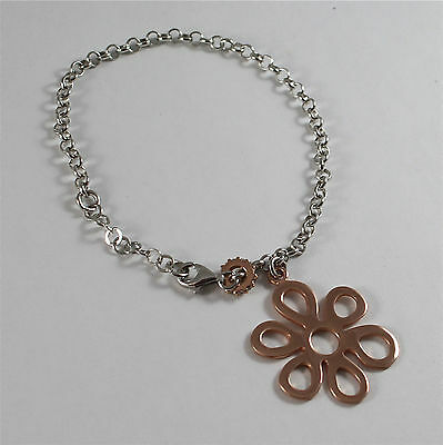 Bracelet Waterproof Silver 925 White and Pink, Pendant to Flower Pink