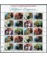 1999 33c Hollywood Composers, Sheet of 20 Scott 3339-44 Mint F/VF NH - $18.60