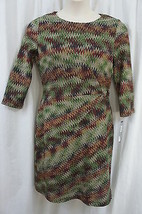"Tahari ASL Dress Sz 14 Olive Red Multi ""Gordonlee"" 3/4 Sleeve Cocktail E... - $59.35"
