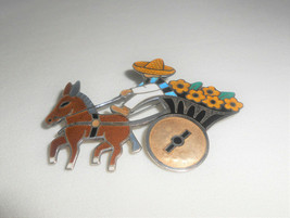 Margot de Taxco Sterling Silver Enamel Donkey and Flower Cart Brooch Pin... - $118.75