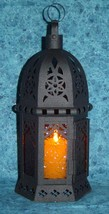 Hanging amber glass moroccan metal candle holder patio deck path table l... - $15.00