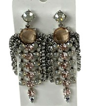 Express Chandelier Dangle Earrings Prong Set Crystal Silver Tone Stateme... - $23.33