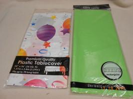 NEW LOT 2 LONG TABLE CLOTH COVERS HALLMARK GREEN & BALLOONS BIRTHDAY Sam... - $4.46