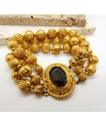 Vintage Topaz Brown Glass Stone Gold Multi-Chain Layered Bead Bracelet Z30 - $26.72