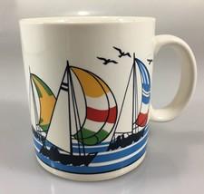 Otagiri Multi-Color Sailboats Spinnakers Regatta Mug Cup 12 oz Made in J... - $19.60