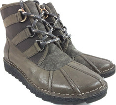 Clarks Somerset Olso Cove Duck Women's Grey Leather Lace Up Ankle Boots Sz 9.5 - $89.05