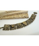 Vintage French Silver Filigree Mont St Michel Charm Panel Bracelet U36 - $47.51