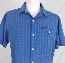Columbia Omni-Shade Blue Check Fishing Hiking Shirt Mens Medium Outdoor Casual - $14.68