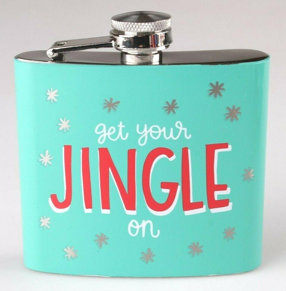 Get Your Jingle On Metal Pocket Hip Flask 5oz Christmas Alcohol Whisky Vodka NEW