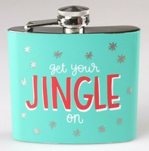 Get Your Jingle On Metal Pocket Hip Flask 5oz Christmas Alcohol Whisky Vodka NEW