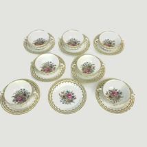 Vintage Royal Worcester England Floral Kempsey 7 Coupe Soup Bowls & 8 Saucers - $149.56
