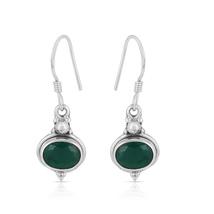 Green Onyx Gemstone Earring, 925 Silver Earring, Oval Shape, Dangle Earring - $14.99