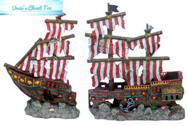 Penn Plax Striped Sail Shipwreck Aquarium Decoration 2PC Large Over 19... - $90.95