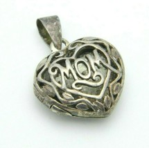 Sterling Silver .925 Mom Filigree Openwork Locket Necklace Pendant Vintage - $24.74