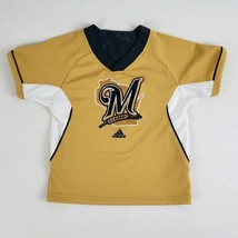 Adidas Milwaukee Brewers Jersey Shirt Youth Medium 6-8 Gold Blue Embroid... - $15.99