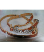 Estate Rhinestone Encrusted Script Love Brown Leather Multiwrap Strap Br... - $10.39
