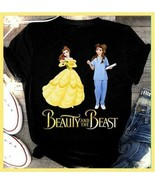 Beauty and The Beast Belle and The Nurse Black Ladies Cotton T-Shirt S-3XL - $19.75+