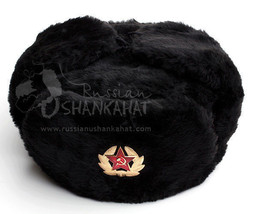 f3462c938aa Classic Russian Army Winter Warm Black Fur Ushanka Hat + Badge Mens Gift -   19.73