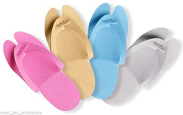 Disposable Foam Pedicure Salon Spa Flip Flop Slippers Assorted Colors 48... - $12.16