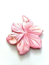 G37 Carved mother of pearl pendant pink flower - $9.85
