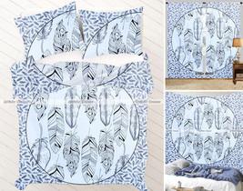 Indian Black Mandala Queen Tapestry + Curtains + Duvet Set + Bedsheet Pi... - $84.14
