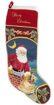 """Needlepoint Christmas Stocking Santa In Chimney With Toy Sack Red Back 24"""" - $22.77"""